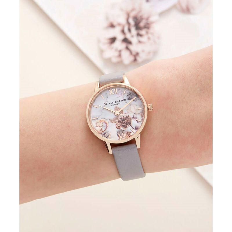 オリビアバートン OLIVIA BURTON マーブルフローラル グレーライラック & ローズゴールド 腕時計