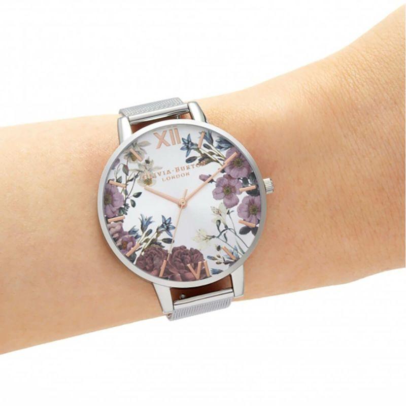 オリビアバートン OLIVIA BURTON ブリティッシュブルーム ローズゴールド & シルバーメッシュ 腕時計