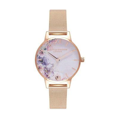 オリビアバートン OLIVIA BURTON ウォーターカラーフローラル ローズゴールドメッシュ 腕時計