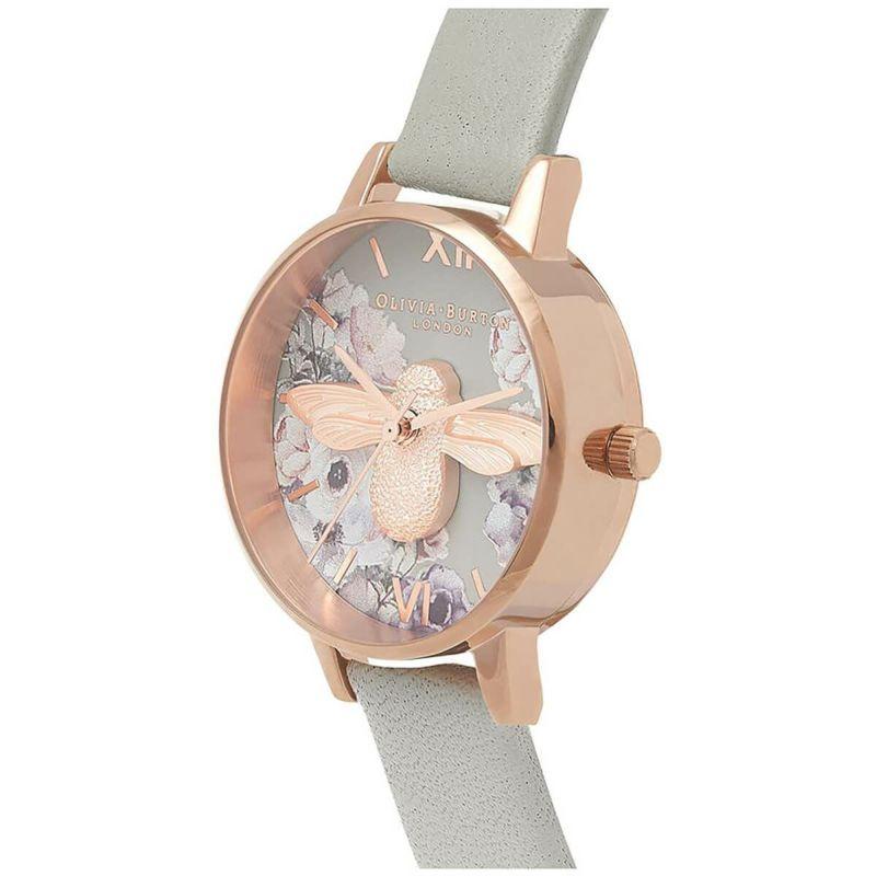 オリビアバートン OLIVIA BURTON ウォーターカラーフローラル グレー & ローズゴールド 腕時計