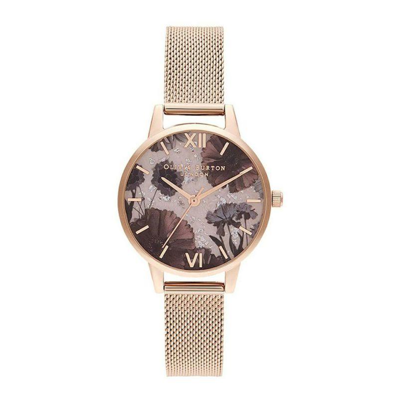 オリビアバートン OLIVIA BURTON セレスティアル ローズクォーツ & ペール ローズゴールド ブークレ メッシュ 腕時計