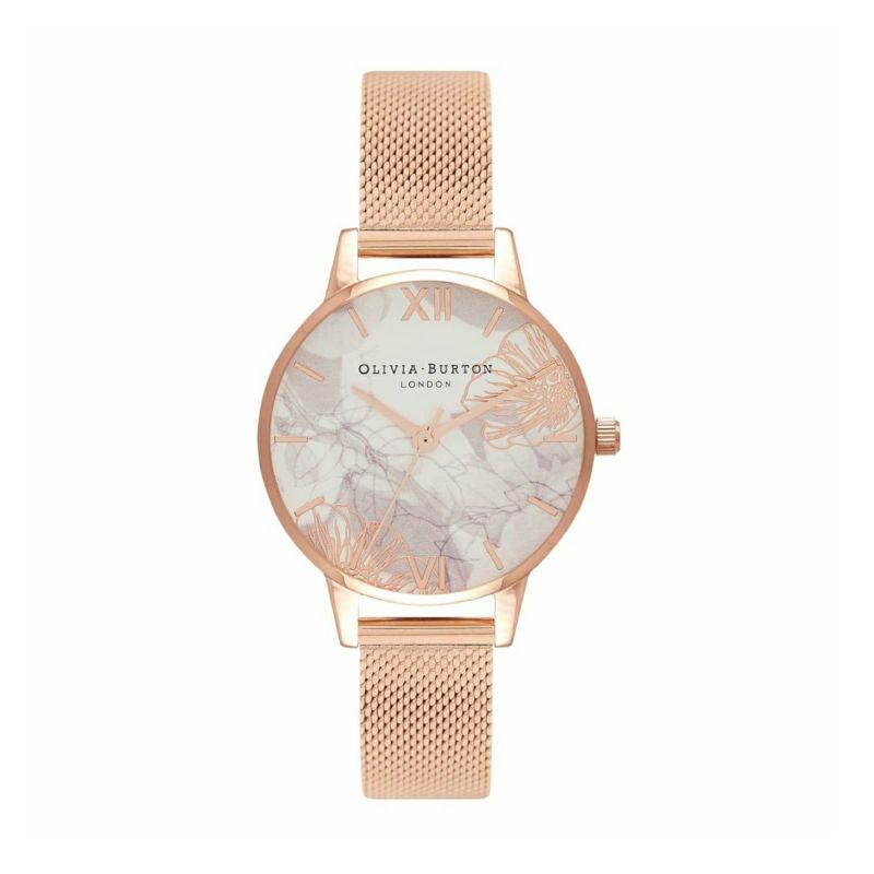 オリビアバートン OLIVIA BURTON アブストラクトフローラル ローズゴールドメッシュ 腕時計