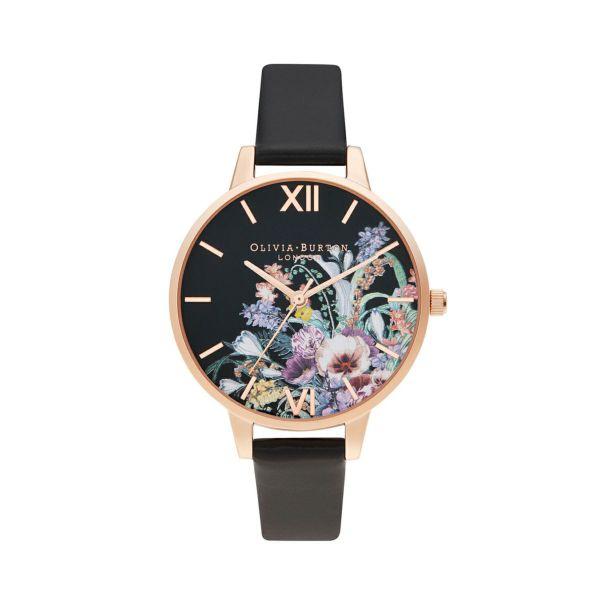 オリビアバートン OLIVIA BURTON エンチャントガーデン ビーガン ブラック ローズゴールド 腕時計