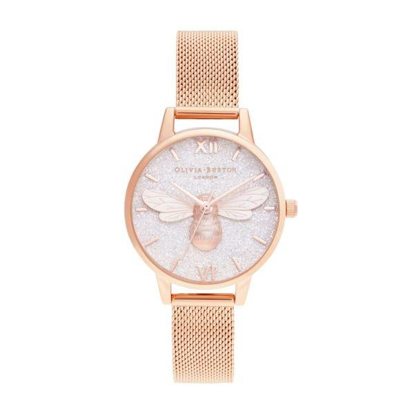 オリビアバートン OLIVIA BURTON グリッター ダイヤル ラッキー ビー & ローズゴールド メッシュ 30mm 腕時計