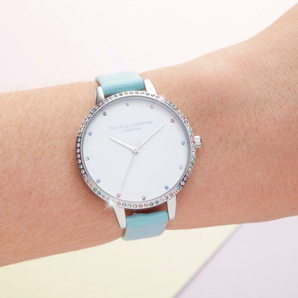 オリビアバートン OLIVIA BURTON レインボー ベゼル ターコイズ & シルバー 34mm 腕時計