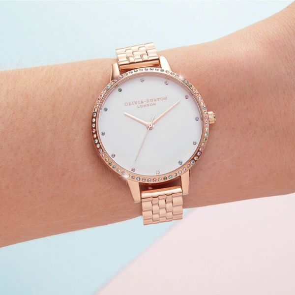 オリビアバートン OLIVIA BURTON レインボー ベゼル & ローズゴールド ブレスレット 34mm 腕時計