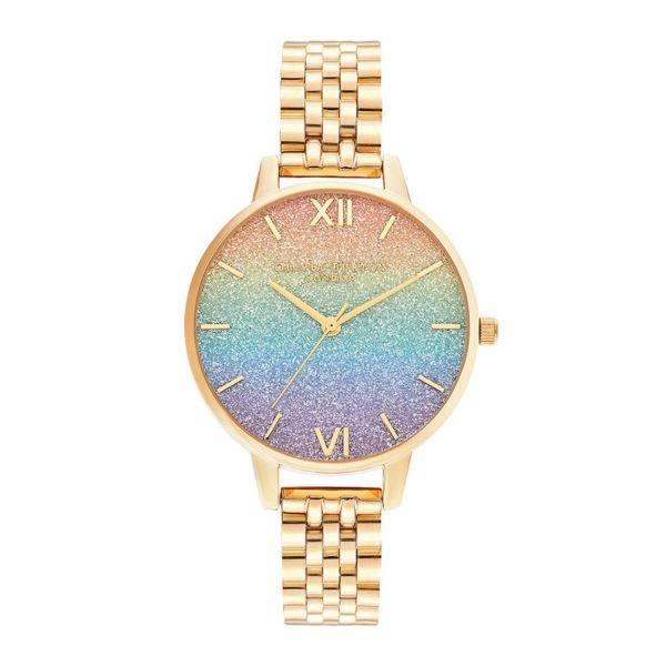 オリビアバートン OLIVIA BURTON レインボー グリッター ダイヤル & ゴールド ブレスレット 34mm 腕時計