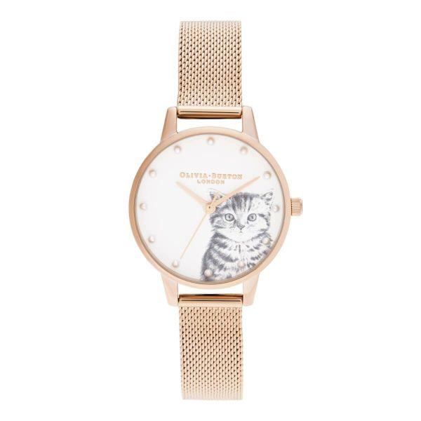 オリビアバートン OLIVIA BURTON イラストレイテッドアニマルズ パールリー キットン ローズゴールド メッシュ 30mm 腕時計