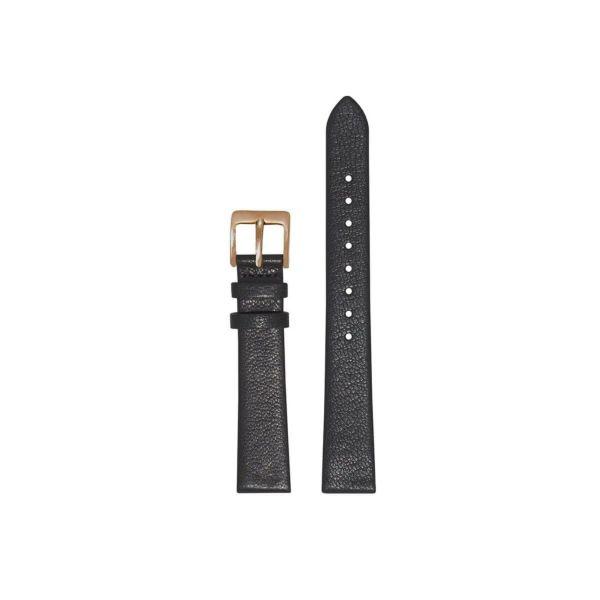 オリビアバートン OLIVIA BURTON 14mm 替えベルト レザー ブラック & ローズゴールド スクエアバックル 腕時計用ベルト/14mm幅ベルト